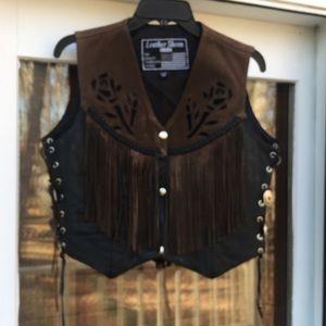 ‼️FINAL PRICE‼️ LEATHER SHEEN Leather Fringe Vest
